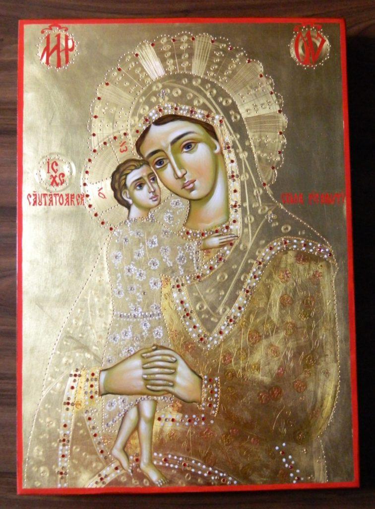 Maica Domnului - Cautatoarea celor pierduti- Icoana realizata pe lemn, in stil bizantin,cu foita de aur de 22k si de 24k. Dimensiune A3 30 X42 cm