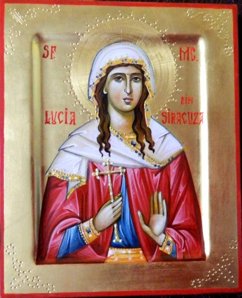 Sfanta Mc Lucia din Siracuza - Icoana pe lemn, realizata in stil bizantin cu foita de aur de 22k . Dimensiune 22X18 cm