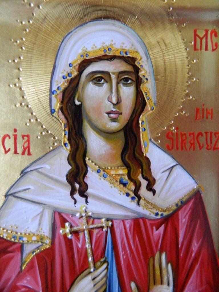 Sfanta Mc Lucia din Siracuza  DETALIU- - Icoana pe lemn, realizata in stil bizantin cu foita de aur de 22k . Dimensiune 22X18 cm