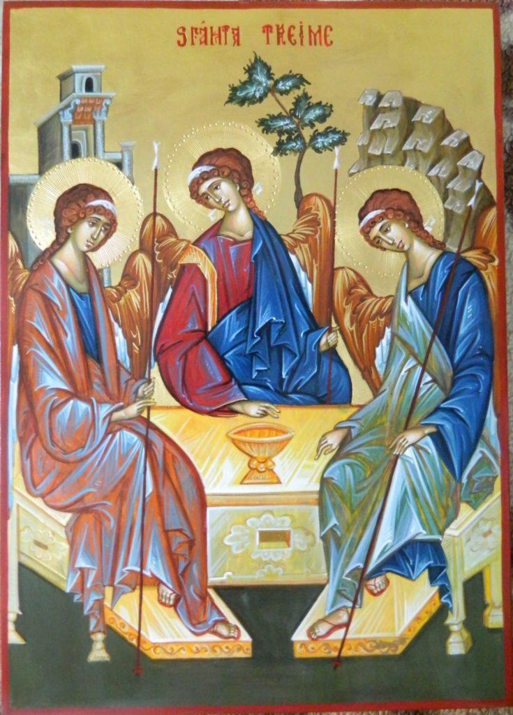 Sfanta TREIME- Icoana realizata pe lemn , in stil bizantin , cu foita de aur de 22k. Dimensiune A3 (30x42 cm)