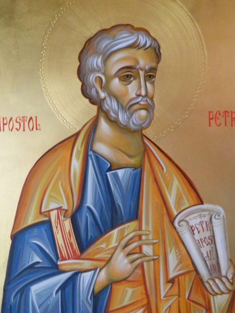 Sfantul Apostol  PETRU_ Icoana realizata pe lemn , in tehnica bizantina,cu foita de aur de 22k.  Dimensiune 30X42cm