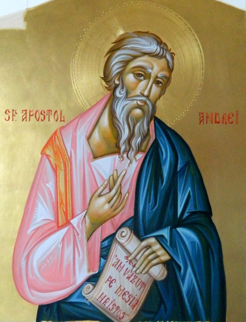 Sfantul Apostol ANDREI_ Icoana realizata pe lemn , in tehnica bizantina,cu foita de aur de 22k.  Dimensiune 30X42cm
