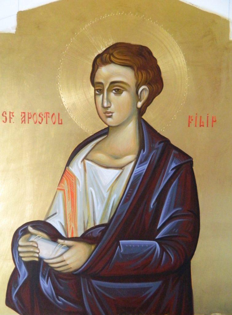 Sfantul Apostol FILIP_ Icoana realizata pe lemn , in tehnica bizantina,cu foita de aur de 22k.  Dimensiune 30X42cm