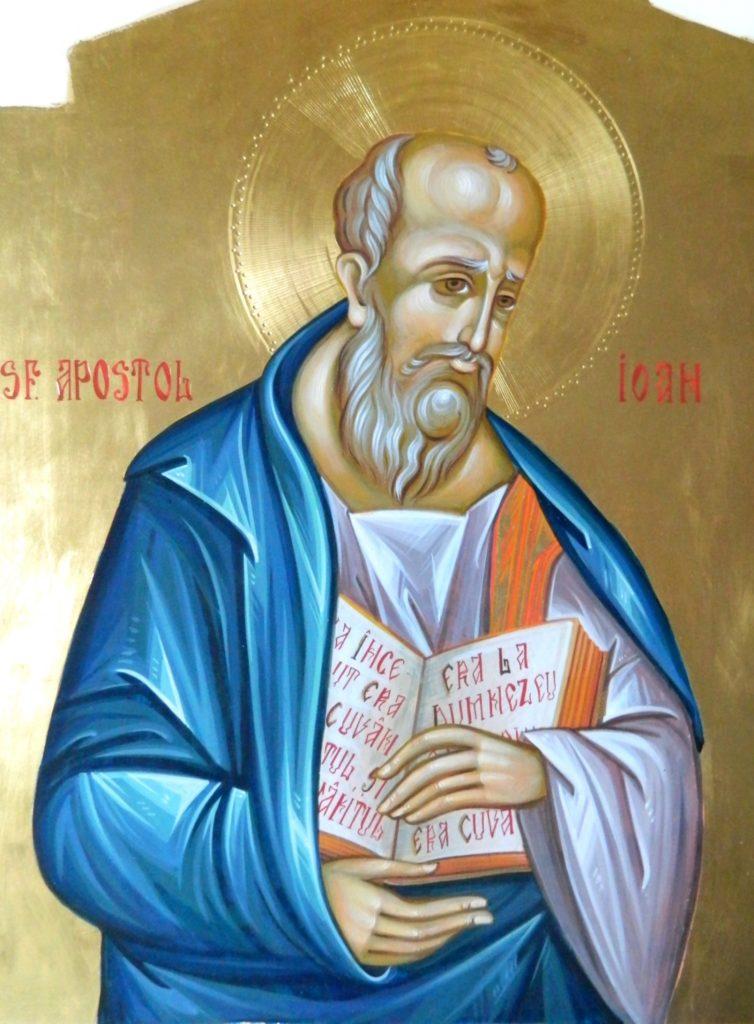 Sfantul Apostol si Evanghelist IOAN_ Icoana realizata pe lemn , in tehnica bizantina,cu foita de aur de 22k.  Dimensiune 30X42cm