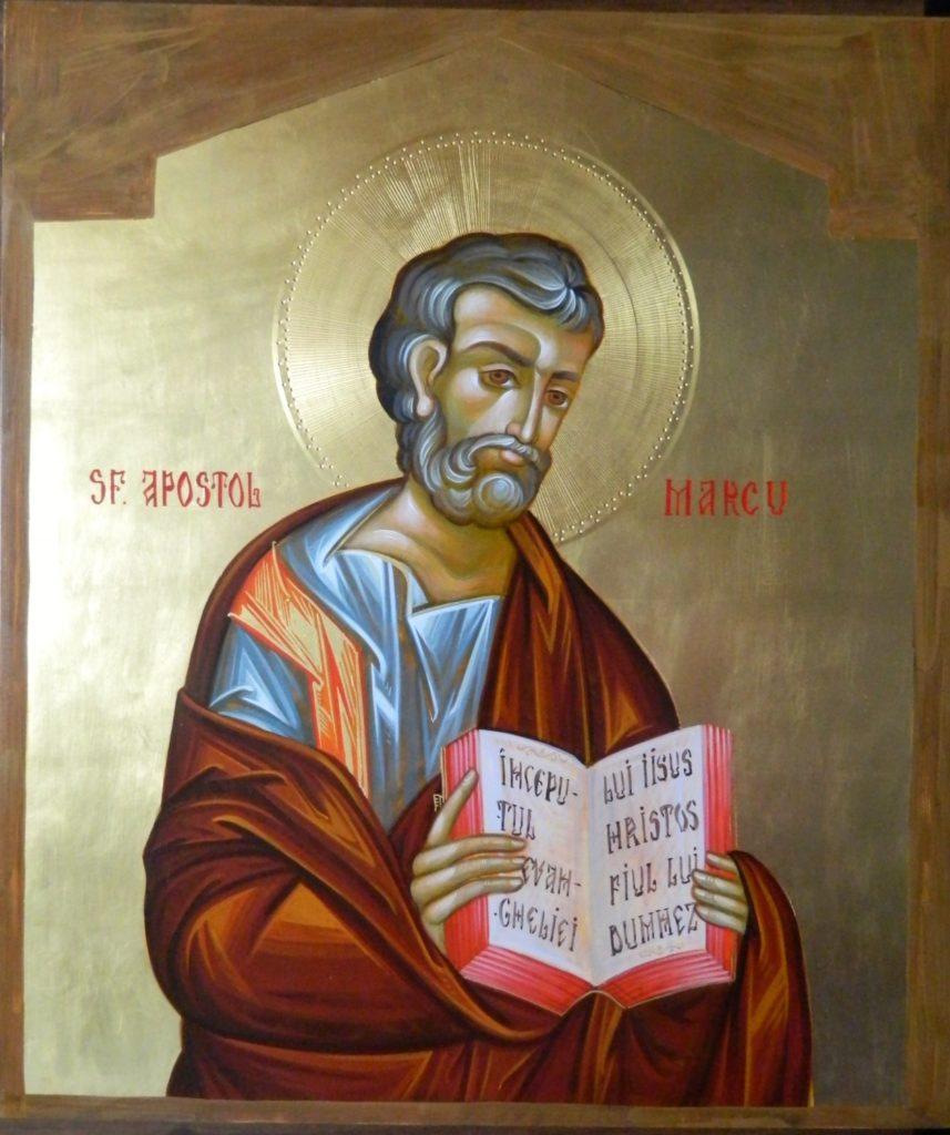 Sfantul Apostol si Evanghelist MARCU_ Icoana realizata pe lemn , in tehnica bizantina,cu foita de aur de 22k.  Dimensiune 30X42cm