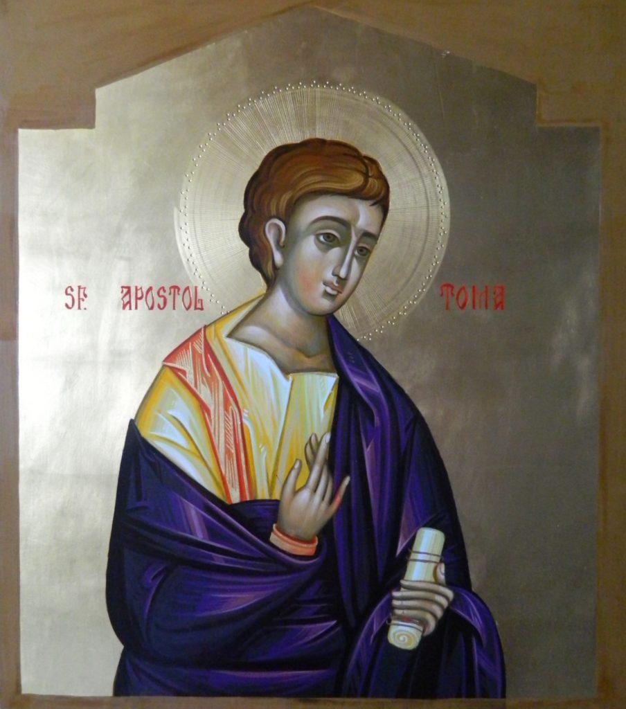 Sfantul Apostol TOMA_ Icoana realizata pe lemn , in tehnica bizantina,cu foita de aur de 22k.  Dimensiune 30X42cm