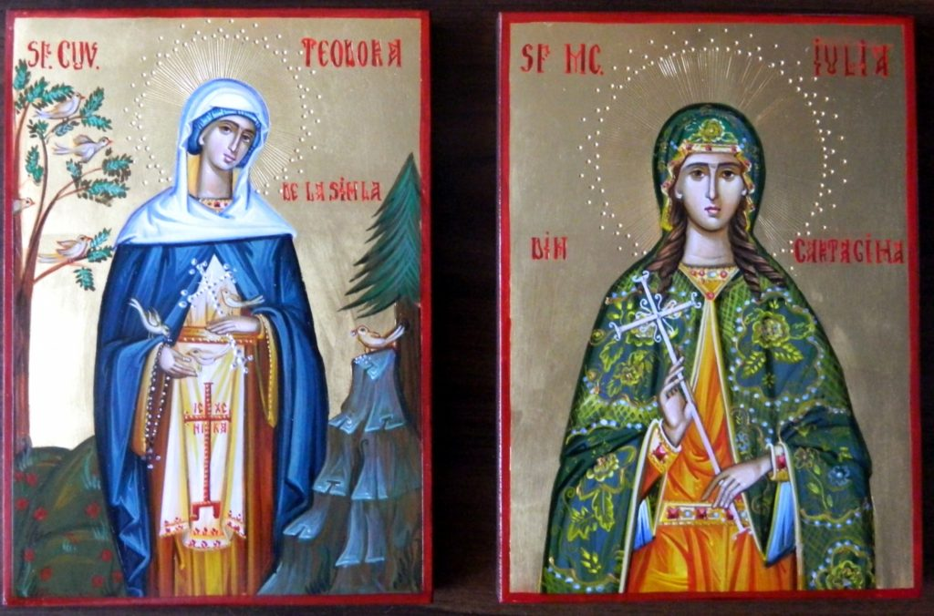 Sf. Cuv Teodora de la Sihla si Sfanta Iulia din Cartagina- Icoane realizate pe lemn, in stil bizantin cu foita de aur de 22k. dimensiune A5 ( 21X18 cm