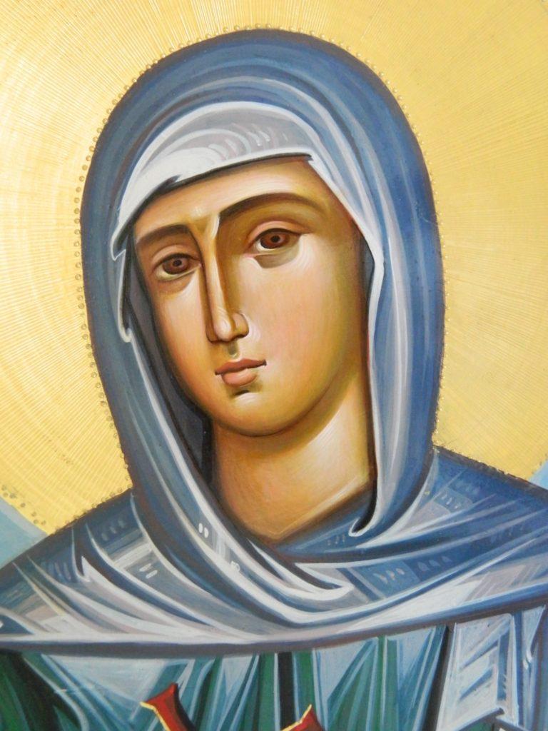 Sfanta Cuvioasa Teodora de la Sihla-DETALIU_  Icoana realizata pe lemn, in stil bizantin cu foita de aur de 22k. Dimensiune 60X80cm