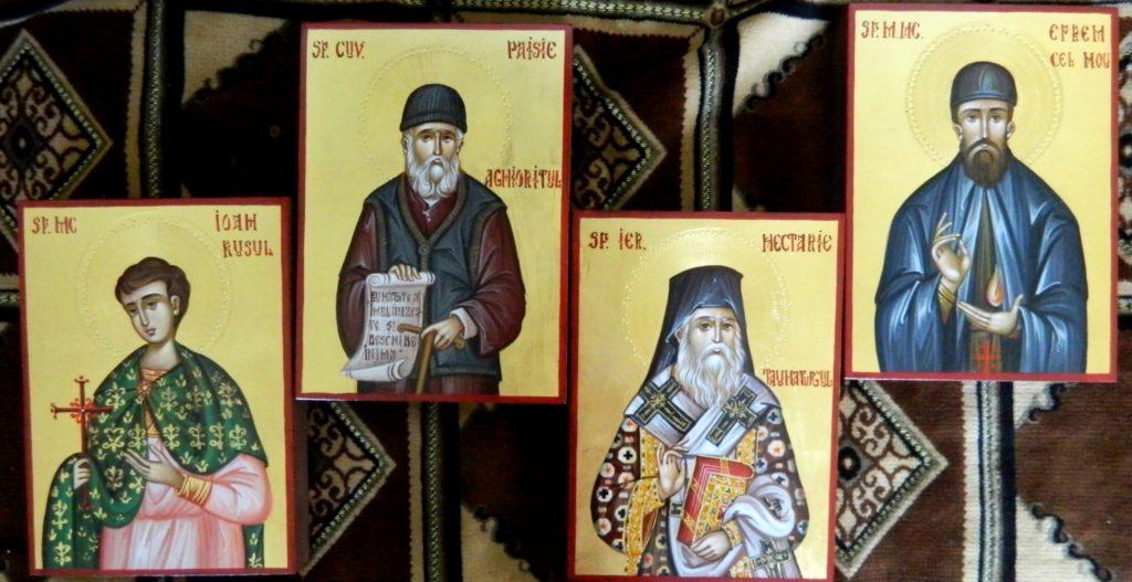 Sf Nectarie- Sf Efrem cel Nou , Sf Ioan Rusul, Sf Paisie Aghioritul- Icoane realizate pe lemn , in stil bizantin, cu foita de aur de 22k. Dimnesiune 21X16cm.