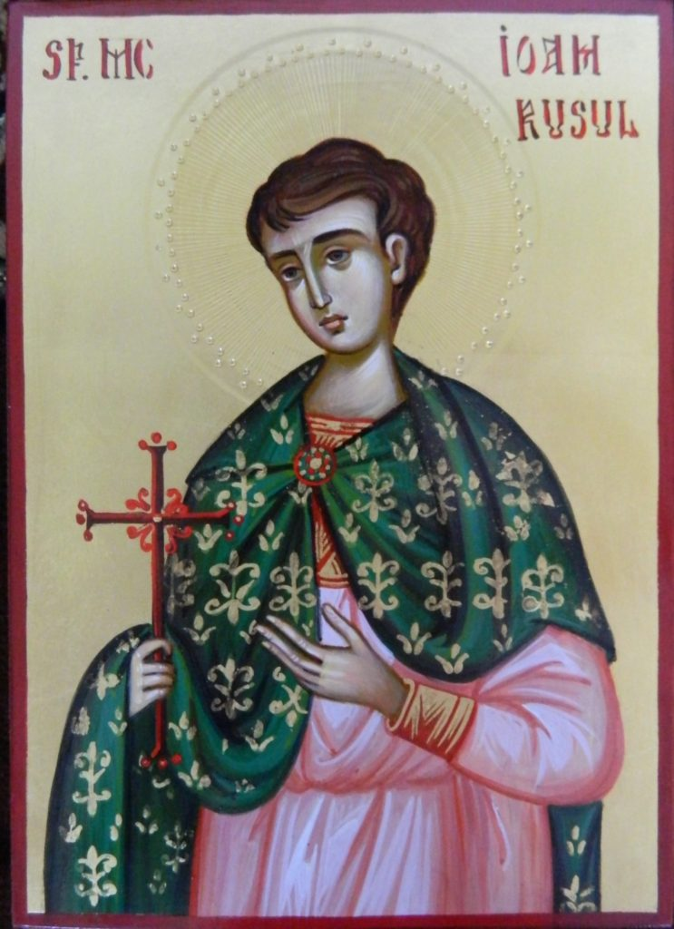 Sf Mucenic Ioan Rusul-Icoana realizata pe lemn , in stil bizantin, cu foita de aur de 22k. Dimnesiune 21X16cm.