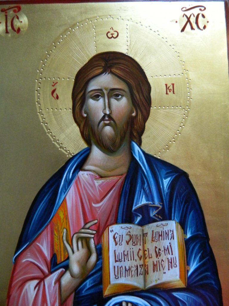 Maica Domnului si Domnul Hristos- DETALIU_ Icoane pe lemn, realizate in stil bizantin cu foita de aur de 22k. Dimensiune icoana A4 21x 30 cm
