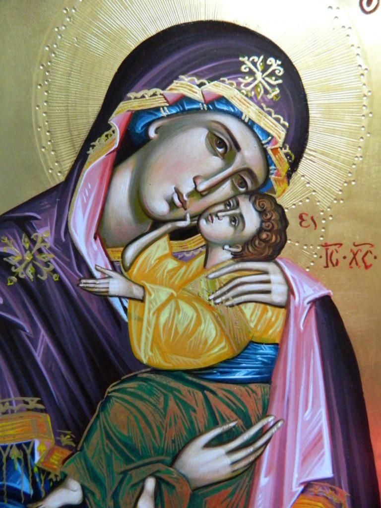 Maica Domnului si Domnul Hristos- Icoane pe lemn, realizate in stil bizantin cu foita de aur de 22k. Dimensiune icoana A4 21x 30 cm- DETALIU