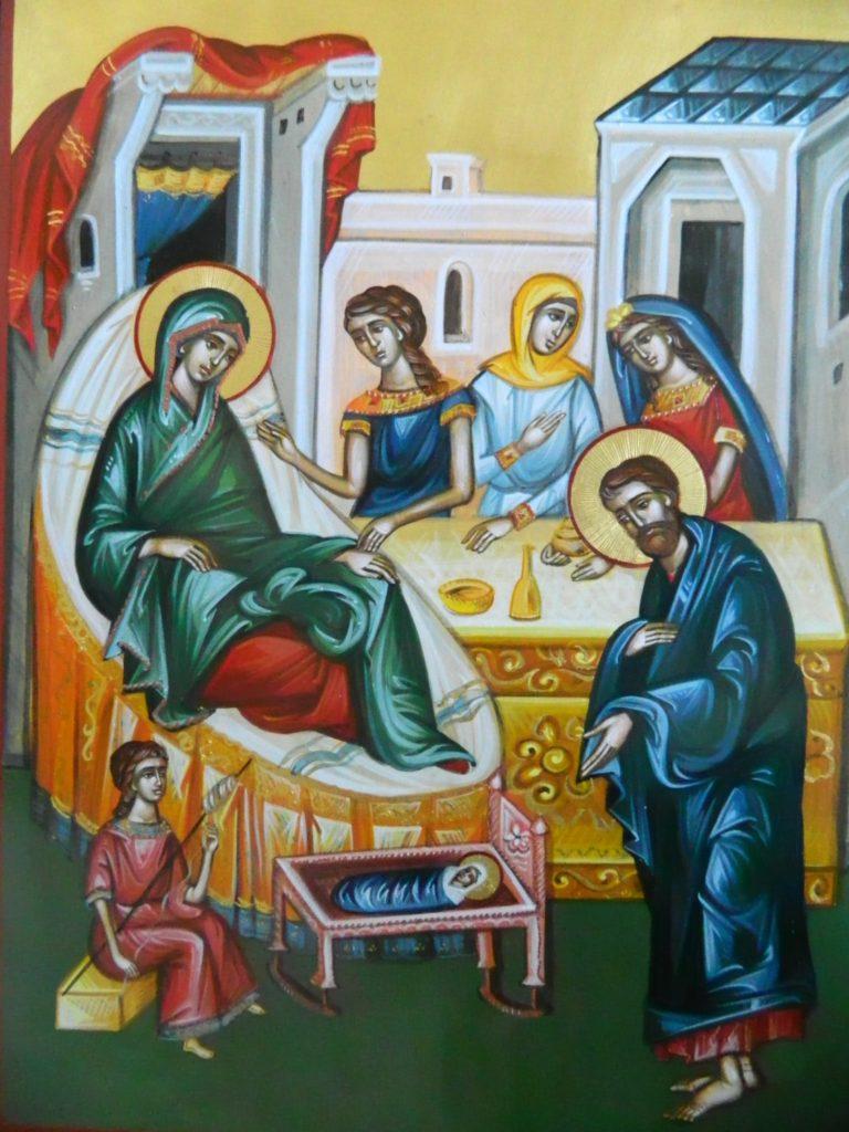 Nasterea Maicii Domnului - Icoana realizata pe lemn cu foita de aur de 22k in stil bizantin. Dimensiune A3 42x30 cm
