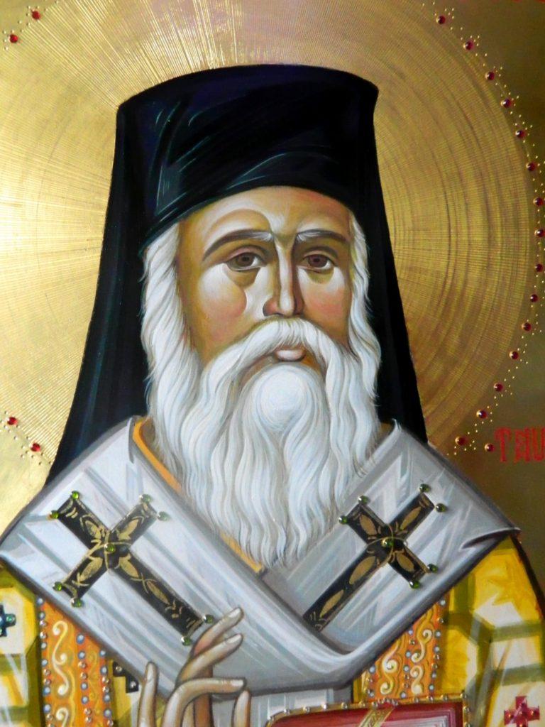 SFANTUL IERARH NECTARIE DE LA EGHINA-Detaliu- Icoana pictata pe lemn, in stil bizantin, cu foita de aur de 22k si aplicatii de pietre semipretioase. Dimensiune 60X80cm