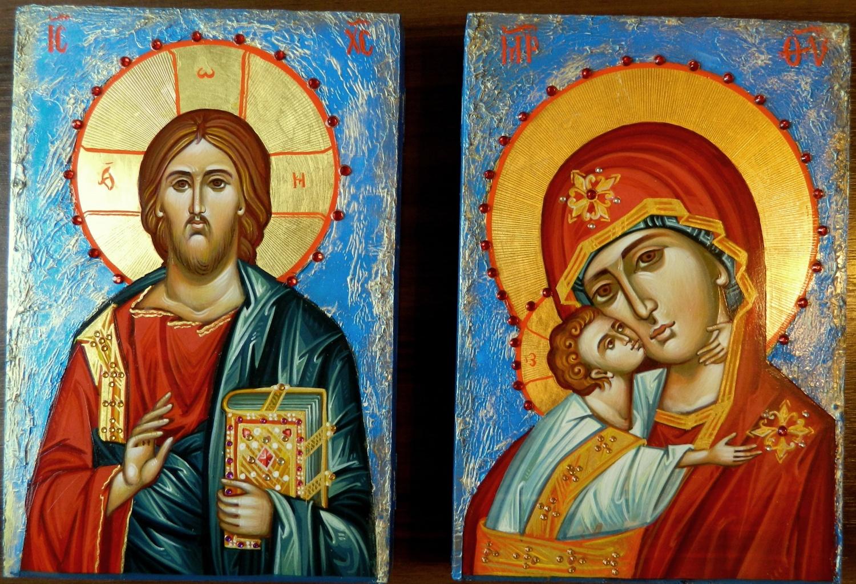 Icoana Domnului Hristos si a Maicii Domnului , intr-un stil inovator cu fond mozaicat!