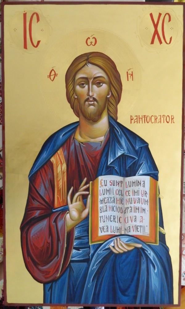 Domnul Iisus Hristos- Icoana realizata pe lemn, in stil bizantin cu foita de aur de 22k. Dimensiune 60x 102 cm
