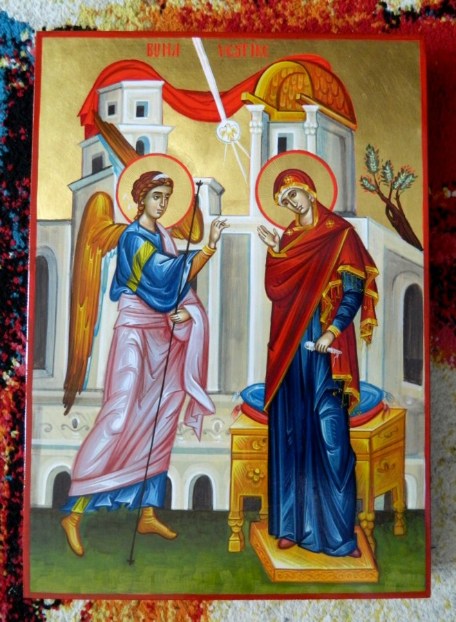 Bunavestire- Icoana realizata pe lemn, in tehnica bizantina, cu foita de aur de 22k. Dimensiune A3   Annunciation - Icon made on wood, in Byzantine technique, with 22k gold leaf. Size A3