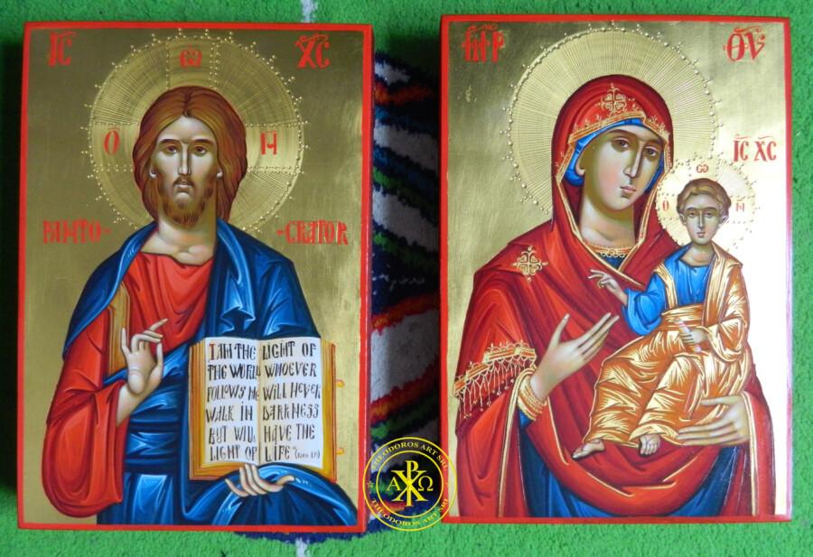 Maica Domnului Indrumatoarea si Hristos Pantocrator- Icoane realizate in stil bizantin cu foita de aur de 22k.  Dimensiune A4