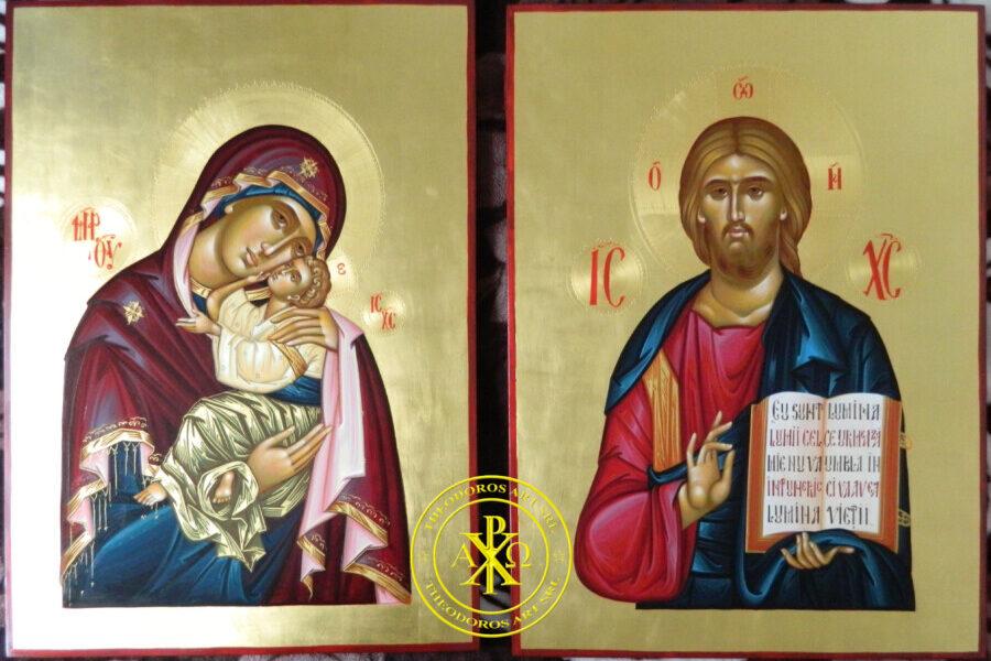 ICOANE IMPARATESTI- Iisus Hristos Pantocrator si Maica Domnului Glycophilousa- Doua ferestre catre Imparatia Cerurilor!