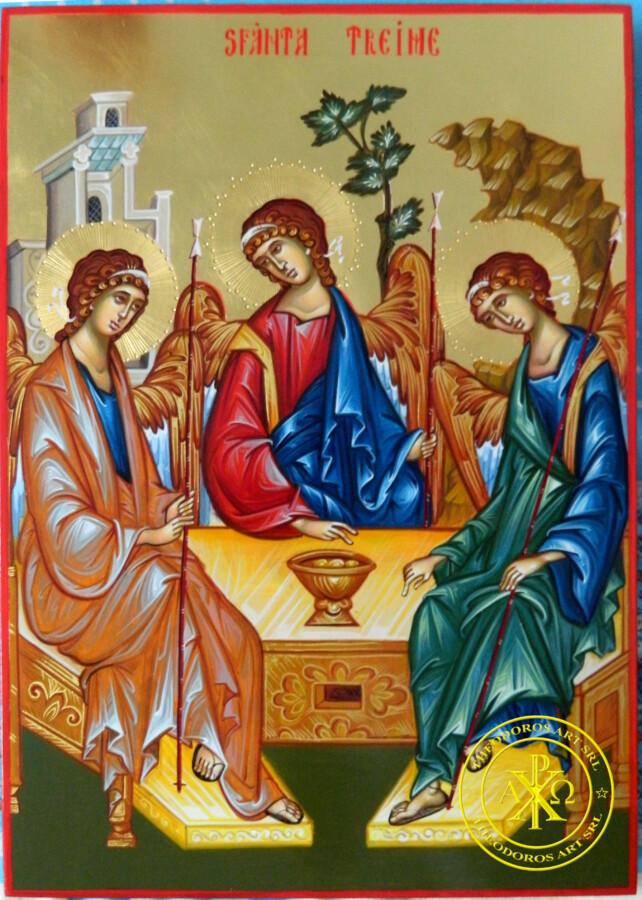 Sfanta Treime- Icoana realizata manual, pe lemn, in stil bizantin cu foita de aur de 22k.