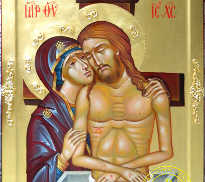 """ICOANA PROSCOMIDIARULUI- 'Pieta""""- Punerea in mormant a Domnului Iisus Hristos de catre Preasfanta Mama Sa!"""